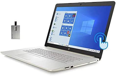 "2021 HP 17.3"" HD+ Touchscreen Laptop Computer, 10th Gen Intel Core i5-1035G1, 8GB RAM, 256GB PCIe SSD, Full-Size KB, HD Audio, HD Webcam, Intel UHD Graphics, Win 10, Gold, 32GB SnowBell USB Card"