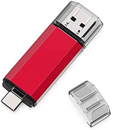 USB C Flash Drive 64GB, 2 in 1 OTG USB 3.0+USB C Memory Stick Dual Type C Flash Drive Thumb Drive Photo Stick Jump Drive for USB-C Smartphones,Tablets, PC, Computers, MacBook, Google Pixel XL,Red