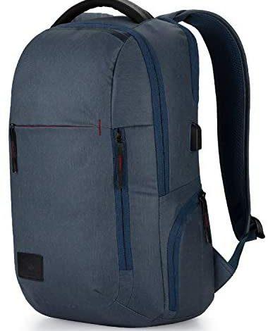 High Sierra Business Proslim USB Laptop Backpack, Rustic Blue Heather/Chili Pepper, One Size