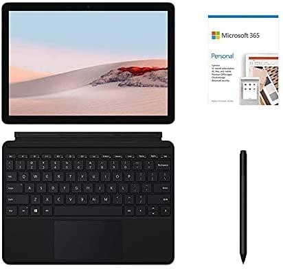 "Microsoft Surface Go 2 10.5"" (1920 x 1280) Touchscreen Tablet, Intel Pentium 4425Y, 8GB RAM, 128GB SSD, Webcam, Wi-Fi, USB-C, BT 5.0, Win 10 w/Type Cover, Surface Pen, Microsoft 365 - Black (Renewed)"