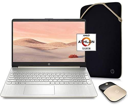 HP Pavilion Laptop (2021 Latest Model), AMD Athlon 3050U Processor, 16GB RAM, 256GB SSD, Long Battery Life, Webcam, HDMI, Bluetooth, WiFi, Gold, Win 10 + Oydisen Cloth