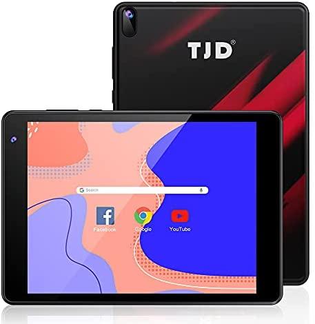 TJD 7.5 Inch Android Tablet, 1440x1080 IPS Display, Android 10, 2GB RAM 32GB ROM, 2MP+5MP Dual Camera, Quad-Core Processor, Wi-Fi Bluetooth Google Certified 3500mAh Black Red