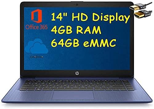 "HP Stream 14 Laptop Computer 14"" HD Micro-Edge Display Intel Celeron N4020 4GB RAM 64GB eMMC Intel UHD Graphics 600 WiFi HDMI USB-C Webcam Office 365 Win 10 (Blue) + HDMI Cable"