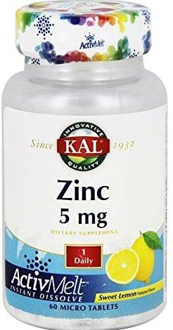 Kal 5 Mg Lemon Zinc Vegan Tablets, 60 Count