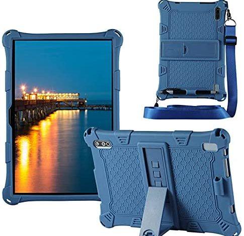 HminSen Case for VASTKING KingPad K10 / Z10 10 inch Tablet Case, Soft Silicone Stand Cover for Vastking KingPad K10 Pro / MARVUE Pad M10 10.1 inch Tablet Case with Shoulder Strap (Navy Blue)