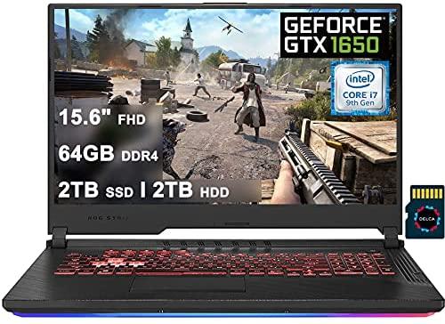 "ASUS ROG Strix G Premium Gaming Laptop I 15.6"" FHD Display I Intel Hexa-Core i7-9750H I 64GB DDR4 2TB SSD 2TB HDD I 4GB GTX 1650 RGB Backlit WiFi Win 10 + 32GB Micro SD Card"