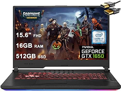"ASUS 2021 Flagship ROG Strix G 15 Gaming Laptop Computer 15.6"" FHD Display Intel Hexa-Core i7-9750H 16GB DDR4 512GB SSD 4GB GTX 1650 RGB Backlit WiFi HDMI Win10 + HDMI Cable"