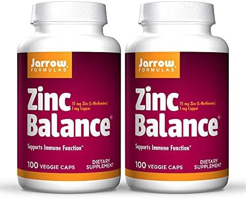 Jarrow Formulas Zinc Balance 15 mg - 100 Veggie Caps, Pack of 2 - Immune Support - Includes Copper - 200 Total Servings