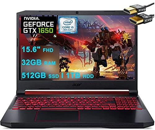 "Acer Premium Nitro 5 15 Gaming Laptop 15.6"" Full HD IPS 9th Gen Intel 4-Core i5-9300H(Beats i7-7700HQ) 32GB DDR4 512GB SSD 1TB HDD 4GB GTX 1650 Backlit KB Win 10 + HDMI Cable"