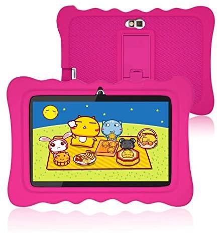 Kids Tablet 7 inch Android, Quad Core Processor, 2GB RAM+16GB ROM, Educationl, Games, WiFi, Bluetooth, Dual Camera, IPS HD Display, Kid-Proof Case- Pink