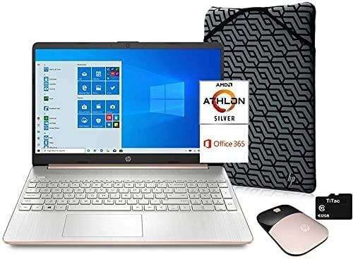 "2021 HP Pavilion 15 15.6"" HD Laptop Computer, AMD Athlon Silver 3050U (Beats i3-7100U) , 8GB DDR4, 128GB SSD, Webcam, USB-C, HDMI, 1 Year of Microsoft 365, Windows 10 S, Rose Gold, TiTac Accessory"