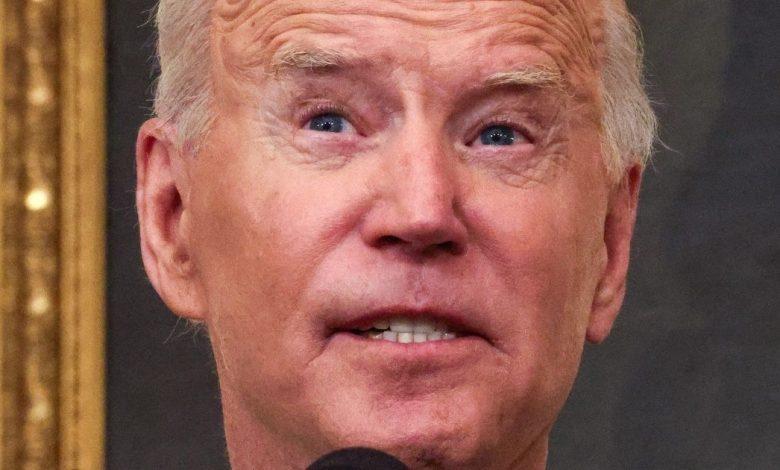 President Joe Biden speaks in the State Dining Room of the White House in Washington on Thursday.