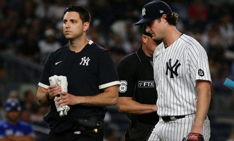 Yankees' Gerrit Cole exits start vs. Blue Jays with hamstring tightness