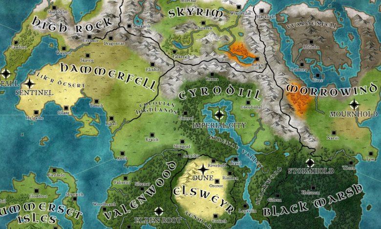 Elder Scrolls Fan Creates Incredible Laser Cut Map of Tamriel